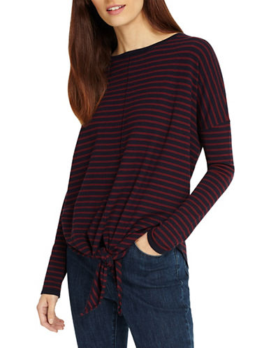 Phase Eight Jolanda Stripe Knit Sweater-WINE-2