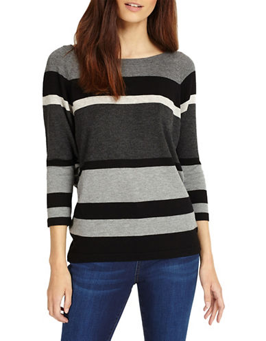Phase Eight Sabra Stripe Knit Top-BLACK-0