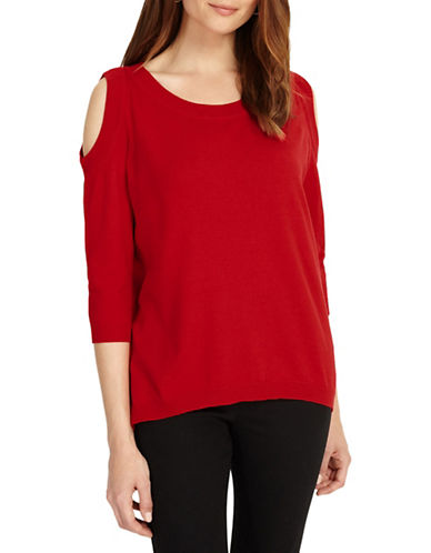 Phase Eight Carine Cold-Shoulder Knit Top-RED-UK 18/US 14