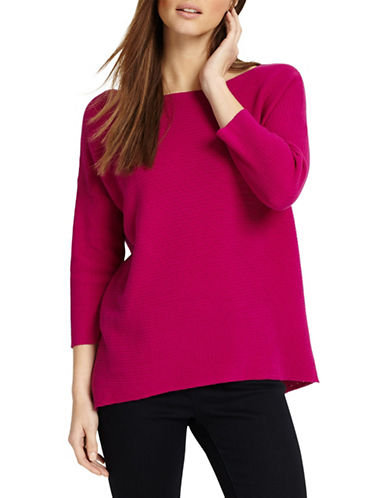 Phase Eight Piera Ripple Stitch Cotton Jumper-MAGENTA-0