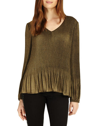 Phase Eight Ella Foil Pleated Blouse-GOLD-UK 18/US 14