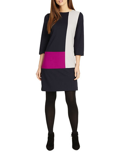 Phase Eight Cindy Colourblock Shift Dress-MULTI-UK 18/US 14