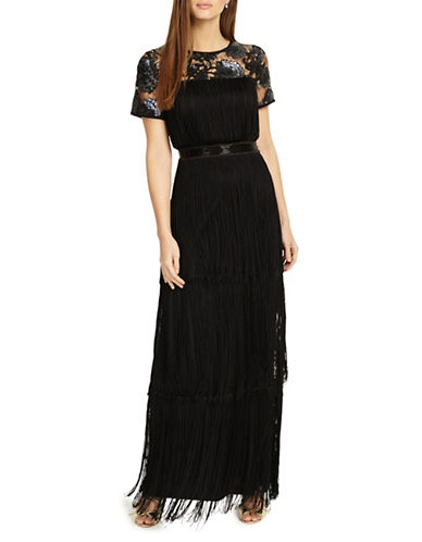 Phase Eight Malene Fringe Gown-BLACK-UK 8/US 4