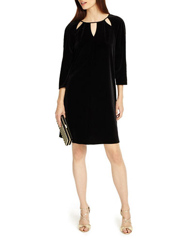 Phase Eight Zoe Velvet Shift Dress-BLACK-UK 8/US 4