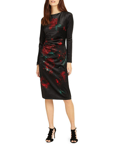 Phase Eight Fenella Print Velvet Shift Dress-BLACK MULTI-UK 8/US 4