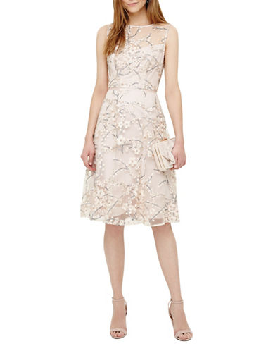Phase Eight Sable Embroidered Swing Dress-PINK-UK 18/US 14