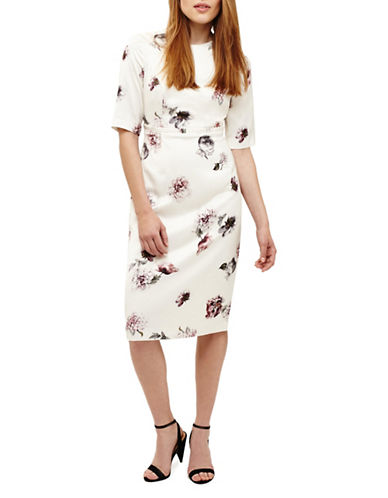 Phase Eight Olga Rose-Print Sheath Dress-CREAM-UK 16/US 12