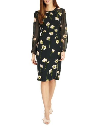 Phase Eight Sorina Floral Printed Sheath Dress-BLACK-UK 16/US 12