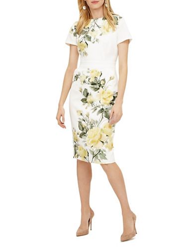 Phase Eight Nika Floral Sheath Dress-IVORY-UK 12/US 8