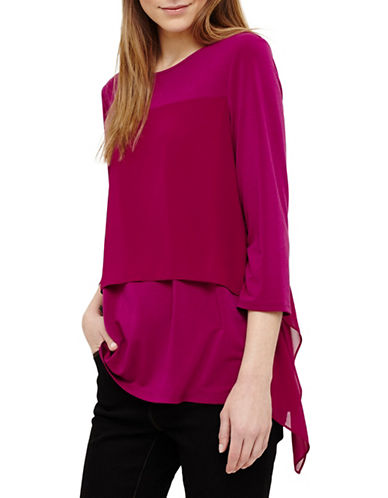 Phase Eight Wynne Woven Layered Top-PINK-UK 16/US 12