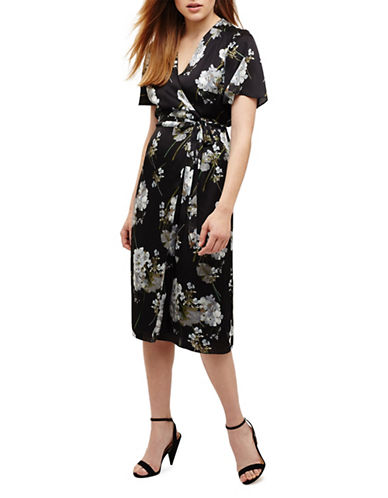 Phase Eight Tasha Floral Wrap Dress-BLACK-UK 18/US 14