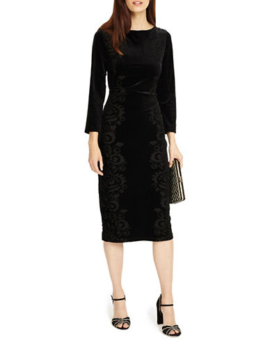 Phase Eight Petra Floral Burnout Velvet Shift Dress-BLACK-UK 12/US 8