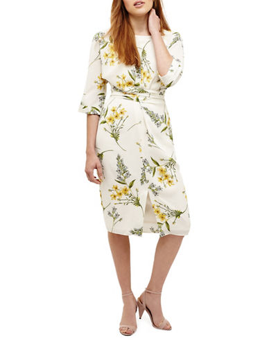 Phase Eight Sandrine Floral Wrap Dress-CREAM-UK 18/US 14