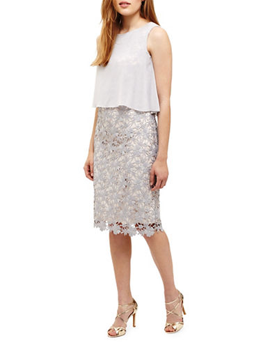 Phase Eight Tuileries Layered Lace Dress-WHITE-UK 18/US 14