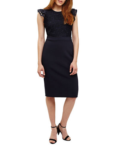 Phase Eight Peggy Lace Sheath Dress-NAVY-UK 14/US 10