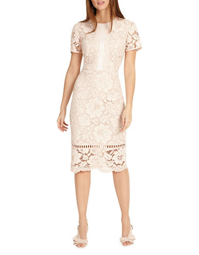 Phase Eight Darena Lace Dress-NATURAL-UK 14/US 10