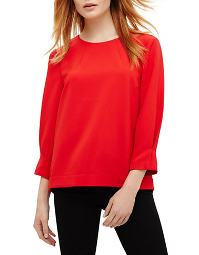 Phase Eight Carmelia Quarter-Sleeve Blouse-RED-UK 12/US 8