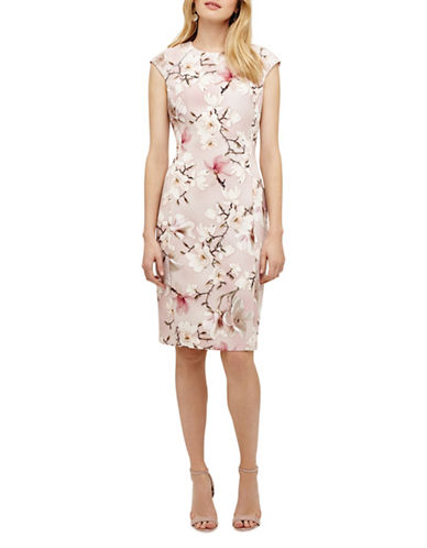 Phase Eight Odette Floral Sheath Dress-PINK-UK 8/US 4