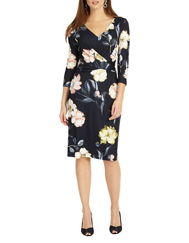 Phase Eight Marina Floral Jersey Dress-NAVY-UK 14/US 10