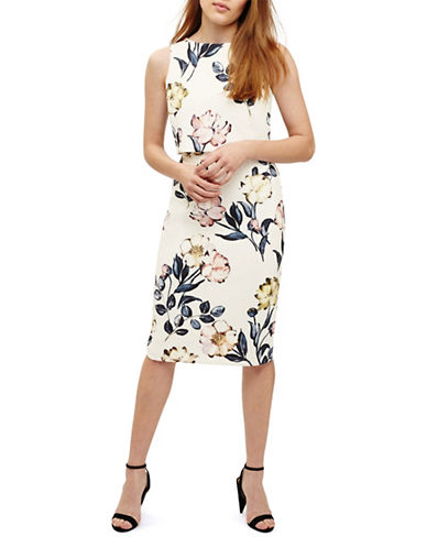 Phase Eight Peony Floral-Print Sheath Dress-IVORY-UK 14/US 10