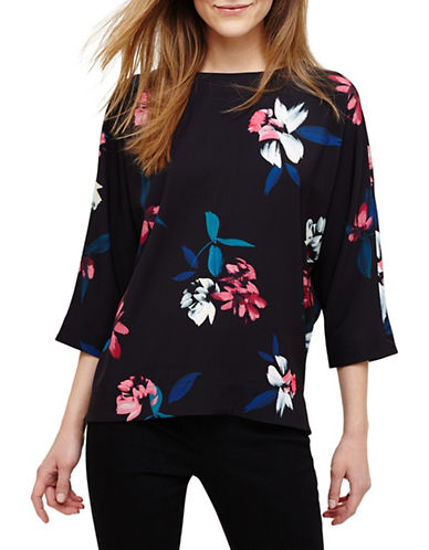 Phase Eight Edie Floral Blouse-BLACK-UK 12/US 8