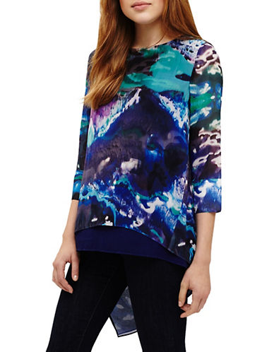 Phase Eight Ariel Printed Blouse-BLUE-UK 18/US 14