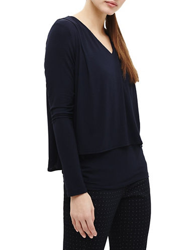 Phase Eight Double-Layer Long-Sleeve Top-NAVY-UK 10/US 6