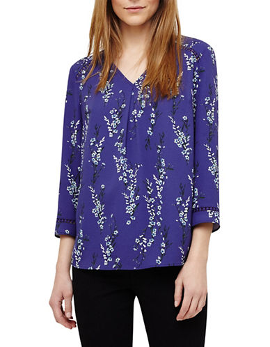 Phase Eight Lea Floral V-Neck Blouse-BLUE-UK 16/US 12