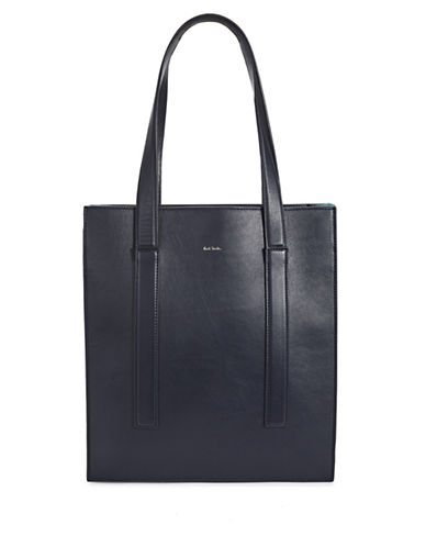 Paul Smith Concertina Leather Tote-NAVY-One Size