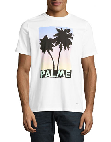 Ps By Paul Smith Regular-Fit Crew Neck Palm T-Shirt-WHITE-Large