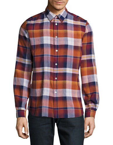 Ps By Paul Smith Tailored-Fit Plaid Sport Shirt-ORANGE-Small