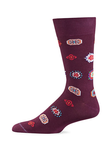 Paul Smith Tudor Rose Socks-PURPLE-One Size