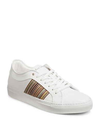 Paul Smith Striped Leather Sneakers-WHITE-8