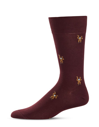 Paul Smith Monkey Print Mid-Calf Socks-RED-One Size