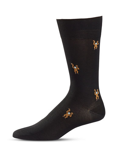 Paul Smith Monkey Print Mid-Calf Socks-BLACK-One Size