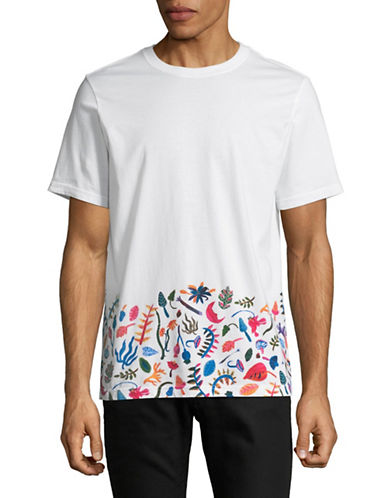 Ps By Paul Smith Printed Hem T-Shirt-WHITE-Small