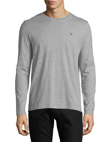 Ps By Paul Smith Long Sleeve Cotton T-Shirt-GREY-Large