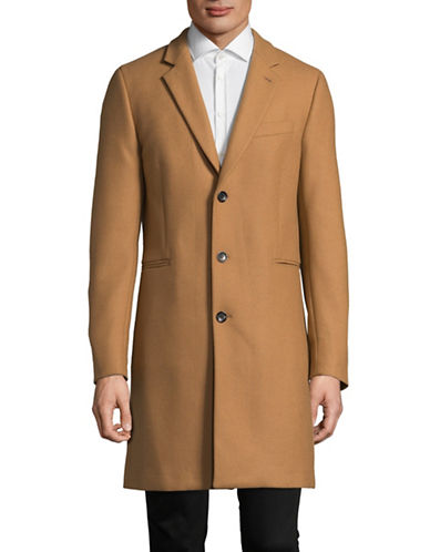 Ps By Paul Smith Twill Wool-Blend Overcoat-BEIGE-Medium