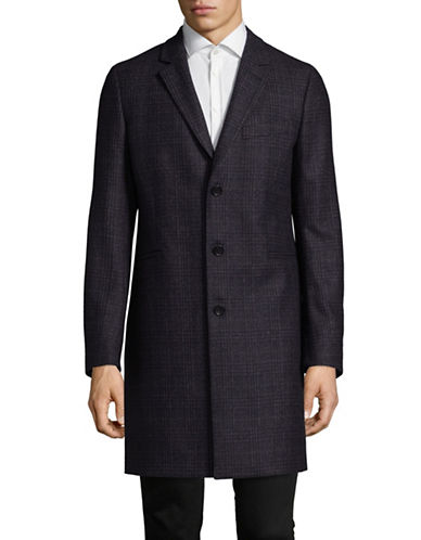 Ps By Paul Smith Check Wool-Blend Overcoat-BLACK-Large