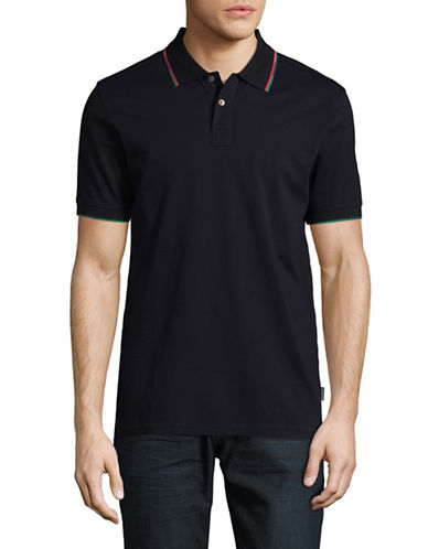 Ps By Paul Smith Short Sleeve Cotton Polo-BLACK-Large