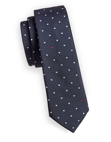 Paul Smith Hearts Silk Tie-BLUE-One Size