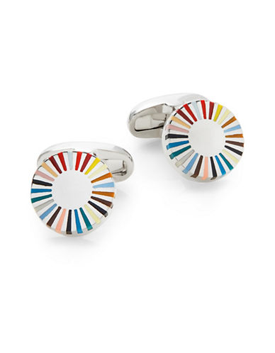 Paul Smith Multi-Stripe Edge Cufflinks-MULTI-COLOURED-One Size