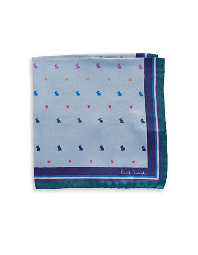 Paul Smith Valentines Silk Pocket Square-BLUE-One Size