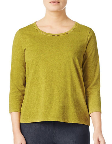 Eastex Trim Detailed Jersey Top-GREEN-UK 16/US 14