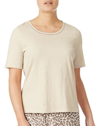 Eastex Trim Detailed Jersey Top-NEUTRAL-UK 14/US 12