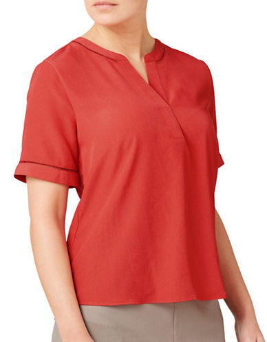Eastex Ladder Trim Blouse-DARK RED-UK 14/US 12