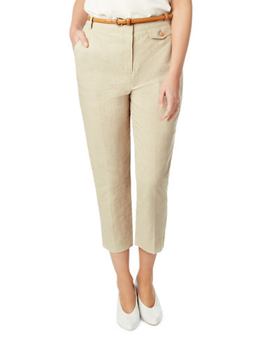 Eastex Ticking Stripe Cropped Trousers-CREAM-UK 18/US 16