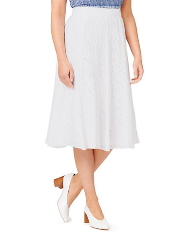 Eastex Burnout A-Line Skirt-WHITE-UK 14/US 12