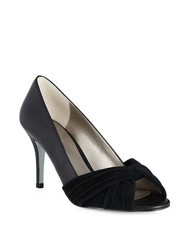 Jacques Vert Suede Twist Front Heels-BLACK-10.5