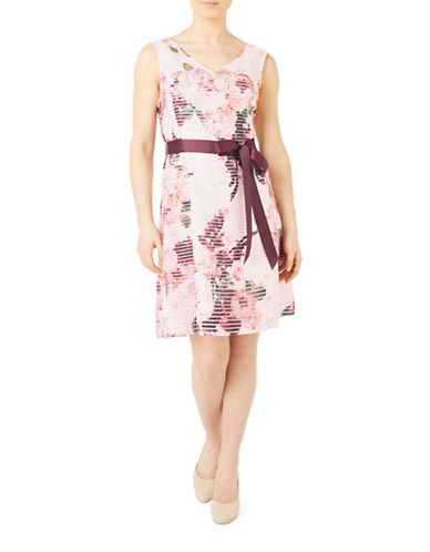 Jacques Vert Floral Burnout A-line Dress-MULTI PINK-UK 16/US 14